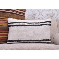 White Cottage Decor Kilim Pillow Striped Turkish Lumbar Rug Cushion