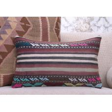 "Bohemian Colorful Kilim Throw Pillow Vintage 12x20"" Lumbar Rug Cushion"