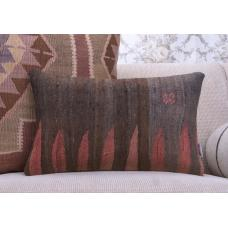 Decorative Tribal Lumbar Kilim Throw Pillow Anatolian Ethnic Cushion
