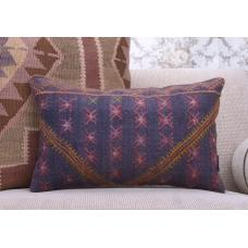 Eclectic Interior Decor Purple Rug Pillow Rectangular Kilim Cushion