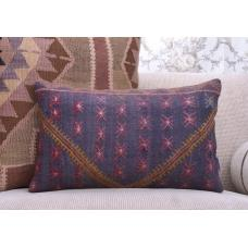 Ethnic Embroidered Rug Pillow Case Vintage Handmade Lumbar Kilim Throw