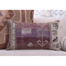Muted Vintage Rug Pillow 12x20 Eclectic Interior Decor Throw Pillowcase