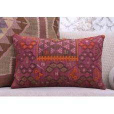 "Oriental Lumbar Kilim Pillow 12x20"" Geometric Vintage Rug Pillowcase"
