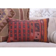 Red Lumbar Kilim Cushion Turkish Vintage Rug Throw Sofa Decor Pillow