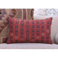 "Red Vintage Kilim Pillowcase 12x20"" Retro Embroidered Rug Pillow Cover"