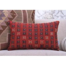 Red Vintage Kilim Throw Pillow Embroidered Rug Lumbar Decor Pillowcase
