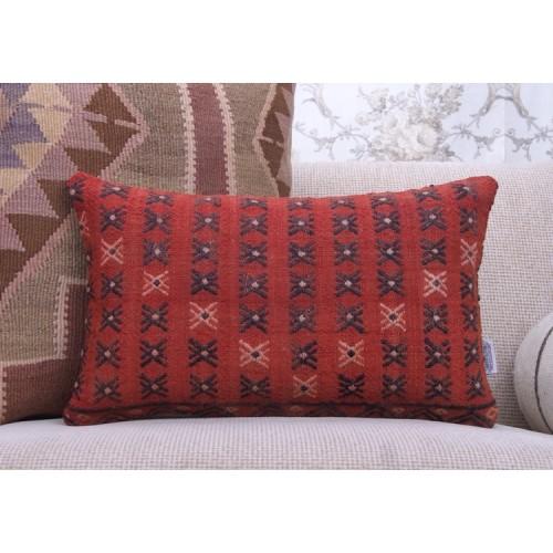 Red Vintage Kilim Throw Pillow Embroidered Rug Lumbar Decor Pillowcase