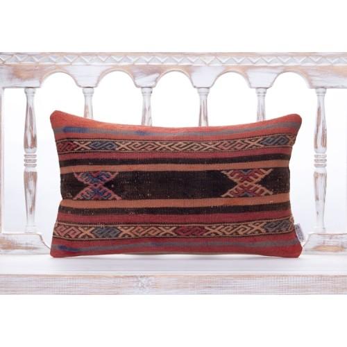 "Antique Handmade Anatolian Kilim Pillow 12x20"" Striped Sofa Decor Throw"
