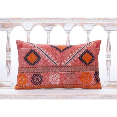 Colorful Boho Style Lumbar Throw Pillow 12x20 Vintage Kilim Rug Cushion