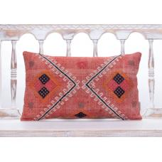 Colorful Eclectic Decor Throw Pillow 12x20 Vintage Lumbar Kilim Cushion