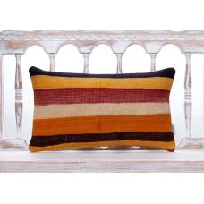 "Colorful Lumbar Kilim Throw Pillow 12x20"" Striped Vintage Decor Cushion"