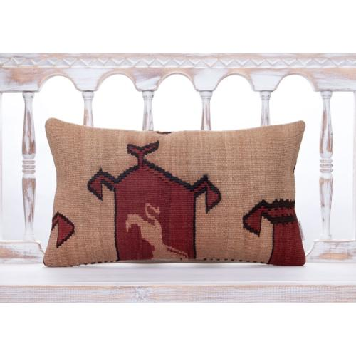 Eastern Vintage Kilim Throw Pillow 12x20 Turkish Ethnic Handmade Cushion
