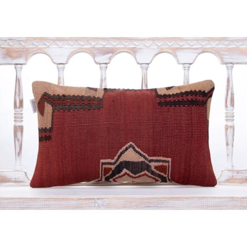 "Ethnic Anatolian Kilim Throw Pillow 12x20"" Earthy Tribal Lumbar Cushion"