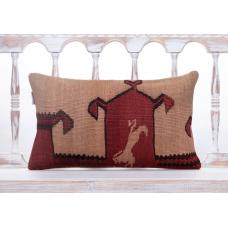 "Ethnic Anatolian Kilim Throw Pillow 12x20"" Handmade Vintage Decor Throw"