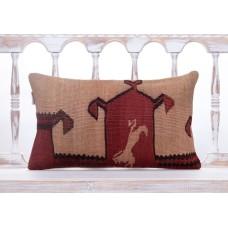"""Ethnic Anatolian Kilim Throw Pillow 12x20"""" Handmade Vintage Decor Throw"""