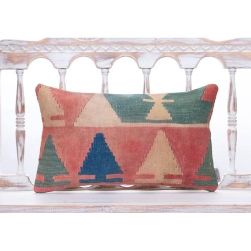 "Nomadic Colorful Vintage Kilim Pillow 12x20"" Shabby Rug Cushion Cover"