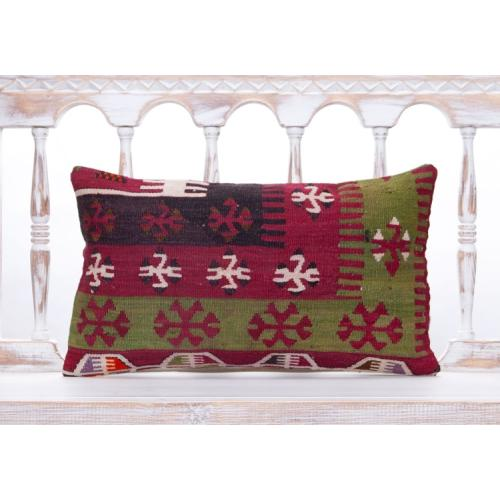 "Oriental Lumbar Turkish Rug Pillow 12x20"" Geometric Kilim Throw Pillows"