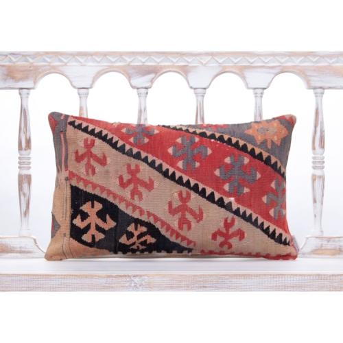 Oriental Turkish Kilim Throw Pillow Vintage Decorative Lumbar Cushion