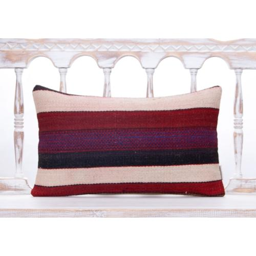 Retro Striped Lumbar Rug Pillow Vintage Colorful Handmade Sofa Throw