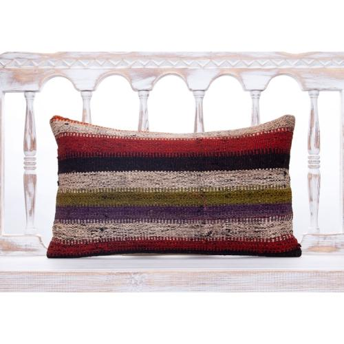 Rustic Interior Decor Throw Kilim Pillow 12x20 Striped Colorful Cushion