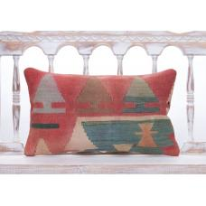 Shabby Tribal Nomad Pillow Vintage 12x20 Colorful Anatolian Kilim Throw