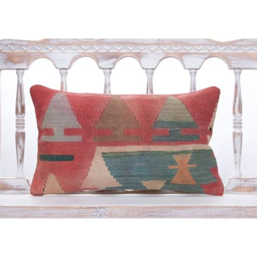 Shabby Tribal Nomad Pillow Vintage 12x20 Colorful Anatolian Kilim Throw
