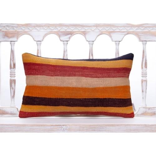 "Striped Vintage Colorful Kilim Pillow 12x20"" Decorative Anatolian Throw"