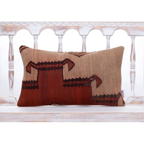 "Tribal Asian Handmade Kilim Pillow 12x20"" Lumbar Ethnic Cushion Cover"