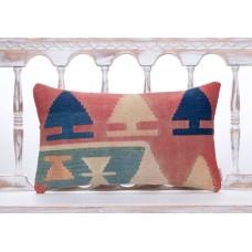 Tribal Nomadic Vintage Kilim Pillow 12x20 Lumbar Turkish Rug Sofa Throw