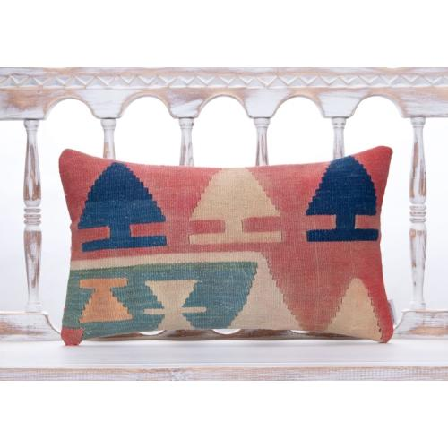 Tribal Nomadic Vintage Kilim Pillow 12x20 Lumbar Turkish Rug Sofa Throw