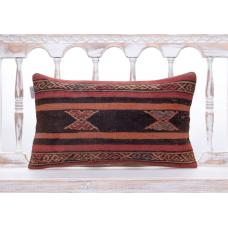 Vintage Anatolian Handmade Rug Pillow Ethnic Decorative Kilim Cushion