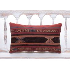 "Vintage Anatolian Kilim Rug Pillow 12x20"" Living Room Decor Sofa Throw"