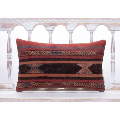 "Vintage Anatolian Kilim Rug Pillow 12x20"" Living Room Decor Sofa Throw"
