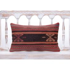 Vintage Embroidered Kilim Pillow Cover 12x20 Aged Old Turkish Rug Throw