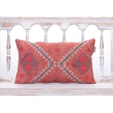 Vintage Embroidered Pink Kilim Pillow 12x20 Handmade Turkish Rug Cushion