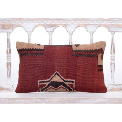 Vintage Ethnic Kilim Rug Pillow Decorative 12x20 Lumbar Red Decor Throw