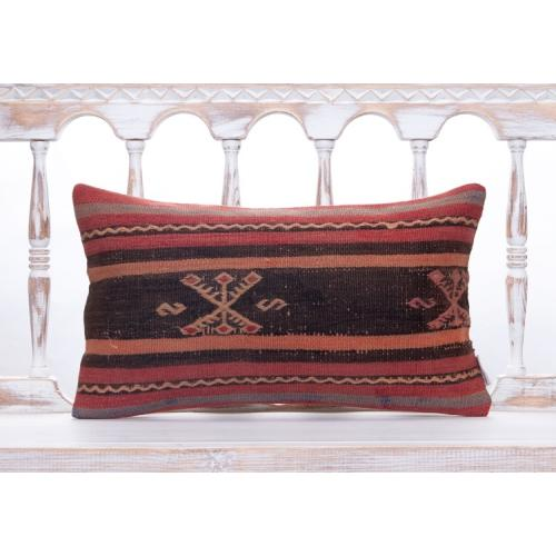 Vintage Oriental Turkish Kilim Pillow Handmade Striped Lumbar Cushion