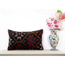 Lumbar Black Kilim Rug Pillow Embroidered Eclectic Decor Accent Cushion Cover