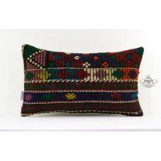 "Vintage Lumbar Kilim Pillow Embroidered Turkish Decor Accent Cushion Sham 12x20"""