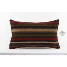 "Vintage Striped Pillow Tribal Lumbar Kilim Pillowcase 12x20"" Sofa Cushion Cover"