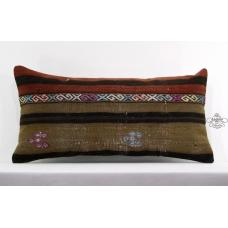 Antique Pillow Cover Vintage Turkish Lumbar Kilim Rug Pillowcase Cottage Cushion