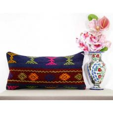 Boho Cottage Chic Lumbar Turkish Kilim Pillow Home Garden Decor Accent Cushion