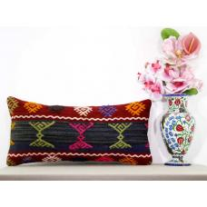 Embroidered Lumbar Kilim Pillow Cover Boho Cottage Chic Turkish Cushion Cover