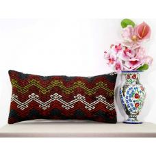 Embroidered Lumbar Kilim Pillow Sham Cottage Chic Decor Accent Kelim Rug Cushion