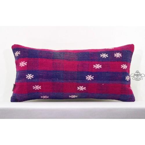 Embroidered Lumbar Pillow Turkish Handwoven Kilim Pillowcase 12x24 Cushion Cover