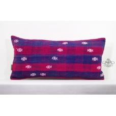 Handwoven Pillow Turkish Kilim Rug Pillowcase Embroidered Lumbar Pillow 12x24""