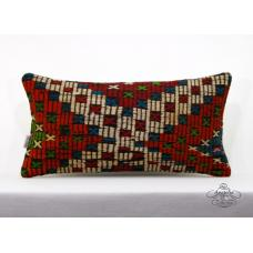 "Embroidered Lumbar Pillow Vintage Turkish Kilim Cushion Cover 12x24"" Sofa Throw"