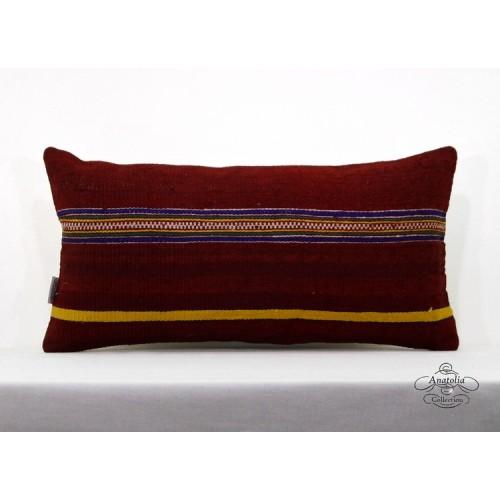 "Rustic Cottage Lumbar Kilim Pillow 12x24"" Turkish Kelim Rug Cushion Cover Throw"