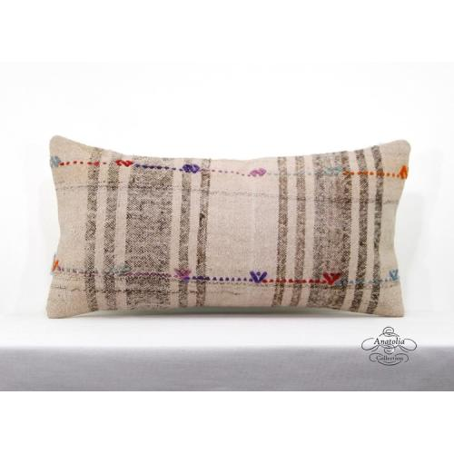 """Vintage Cottage Chic Kilim Pillow Turkish Sofa Couch Throw 12x24"""" Cushion Cover"""