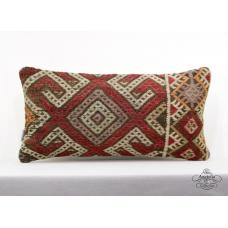 "Oriental Turkish Kilim Pillowcase 12x24"" Lumbar Pillow Embroidered Cushion Cover"
